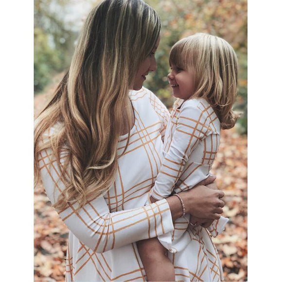 Golden Plaid Mommy&Me Dress