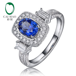 sapphire white gold and diamond engagement ring