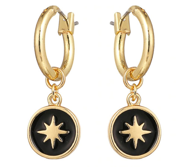 Black North Star Earrings