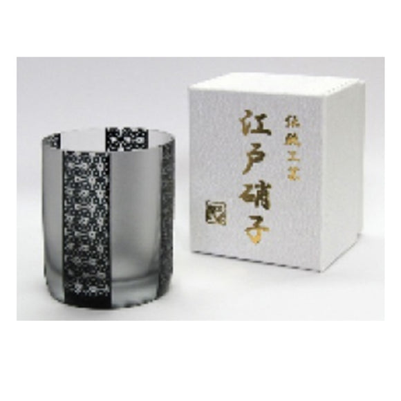 EDO GARASU Asanoha Whiskey Glass (Black)