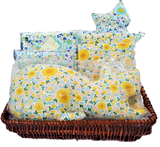 A Basket of 2 Cat Cushions (Blue/Yellow) & 2 Matching Square Cushion Covers