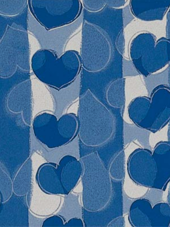 2 Pieces of Japanese Wrapping Papers – Heart Blue