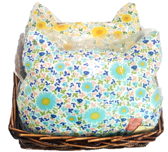 A Basket of 2 Cat Face Cushions