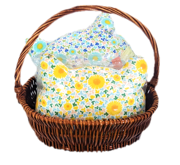 A Basket with Handle of 2 Cat Face Cushions