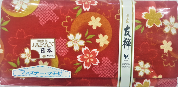Japanese Sakura Print Fabric Wallet (Red)