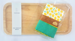 Long Wood Tray + MARCHE Gauze Handkerchief Towel (Lemon)