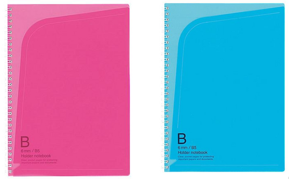 KOKUYO Twin Ring Notebook with Pocket Holder Semi-B5 (Pink & Blue 1 each)