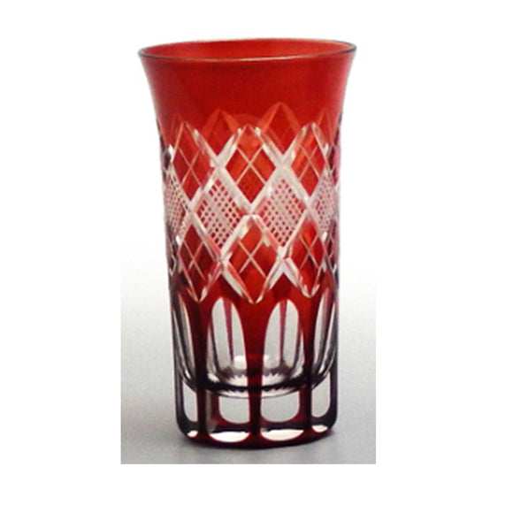 EDO KIRIKO Kohaku Whiskey Glass (Red)