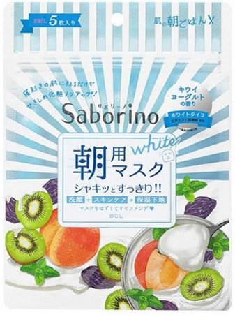 BCL Saborino 60 Seconds Kiwi Yoghurt Morning Face Mask - 5 Sheets