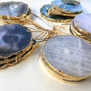 Light Blue Agate Coasters set of 2 - Seeyacollection