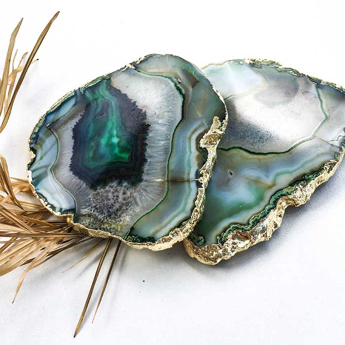 Green Agate Coasters Set Of 2 Seeyacollection