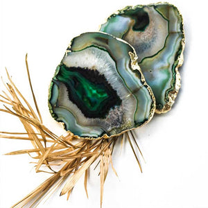 Green Agate Coasters set of 2 - Seeyacollection