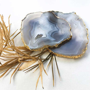 Agate Coasters Grey set of 2
