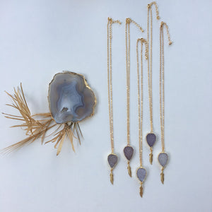 Raw Agate Slice Necklace Natural - Seeyacollection
