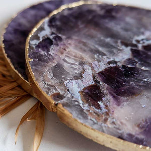Amethyst Agate Coasters Round set of 2 - Seeyacollection