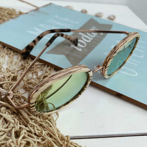 Polarized Beige Stripe Women Sunglasses Shiny - Seeyacollection