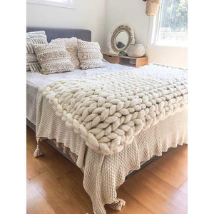 Chunky Knit Blanket 100% Merino Wool Off-White