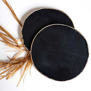 Black Agate Coasters Round set of 2 - Seeyacollection