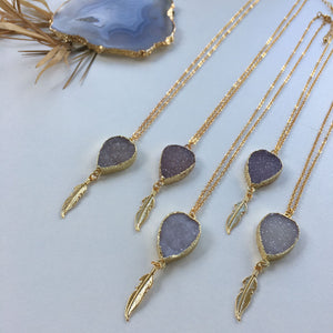 24k Gold Plated Raw Agate Slice Necklace - Seeyacollection