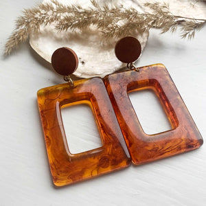 Boho Acrylic Earrings Square - Seeyacollection