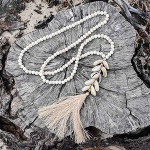 Handmade White Stone Beaded Boho Necklace - Seeyacollection