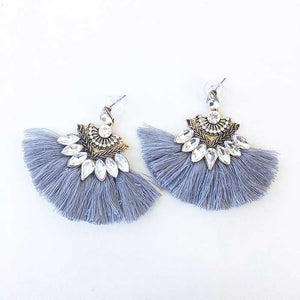 Dangle Drops Fringing Earrings Grey - Seeyacollection