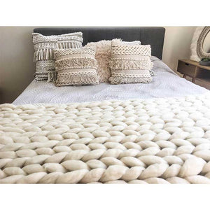 Chunky Knit Blanket 100% Merino Wool Off-White - Seeyacollection