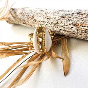 Cowrie Shell Ring Gold Plated - Seeyacollection