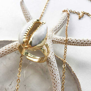 18k Gold Plated Cowrie Shell Ring - Seeyacollection