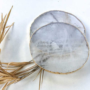 Natural Agate Coasters Round set of 2 - Seeyacollection