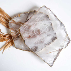 Crystal Coasters Quartz set of 2 - Seeyacollection