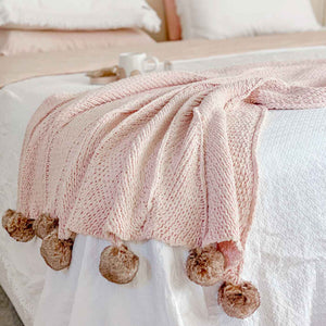 Pom Pom Blanket King Size Blush