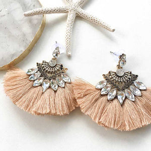 Dangle Drops Fringing Earrings Blush - Seeyacollection