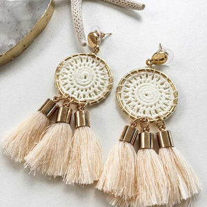 Dream Catcher Tassel Earrings Cream - Seeyacollection