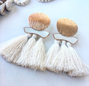Boho Earrings big drop with white tassel - Seeyacollection