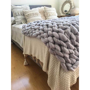 Chunky Knit Blanket 100% Merino Wool Grey