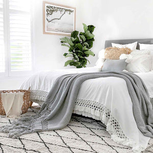 Long Tassel Throw Blanket Deluxe Grey King Size