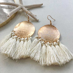 Indian Tassel Earrings White - Seeyacollection