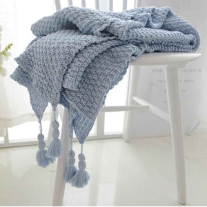 Tassel Throw Blanket Grey - Seeyacollection