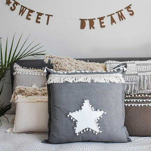 Linen Dark Grey Cushion with Fringe 50x50 - Seeyacollection