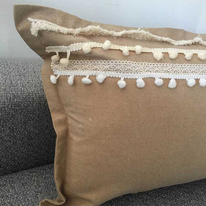 Linen Light Brown Cushion with Fringe Tassel 50x30 - Seeyacollection