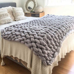 Chunky Knit Blanket 100% Merino Wool Grey - Seeyacollection