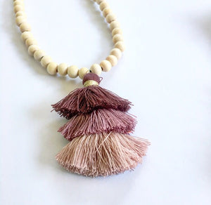 Long Boho Necklace With Tassel Mixed Top Pink - Seeyacollection