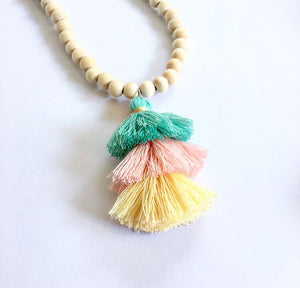 Long Boho Necklace With Tassel Mixed Top Green - Seeyacollection