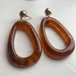 Boho Acrylic Hoop Earrings Oval - Seeyacollection