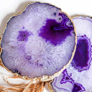 Purple Agate Coasters set of 2 - Seeyacollection