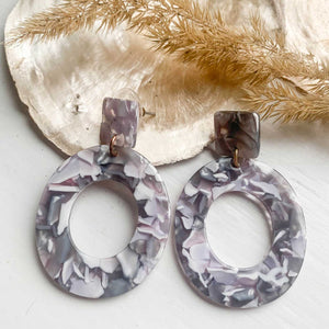 Round Acrylic Earrings Marble - Seeyacollection