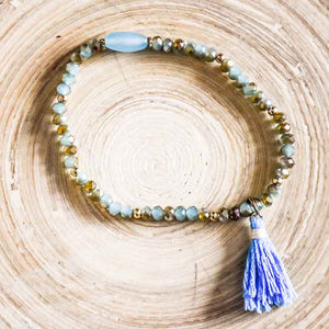Beaded bracelet mixed crystal blue with tassel - Seeyacollection