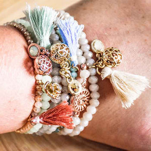 Beaded Bracelet mixed orange colour with tassel - Seeyacollection