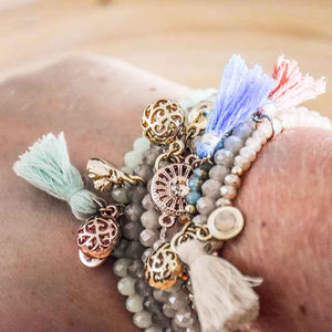 Beaded Bracelet soft blue with tassel - Seeyacollection